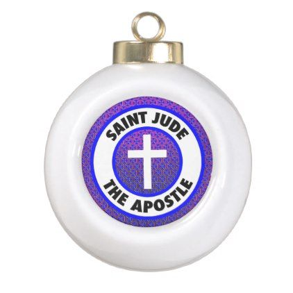 Saint Jude the Apostle Ceramic Ball Christmas Ornament - home gifts ideas decor special unique custom individual customized individualized