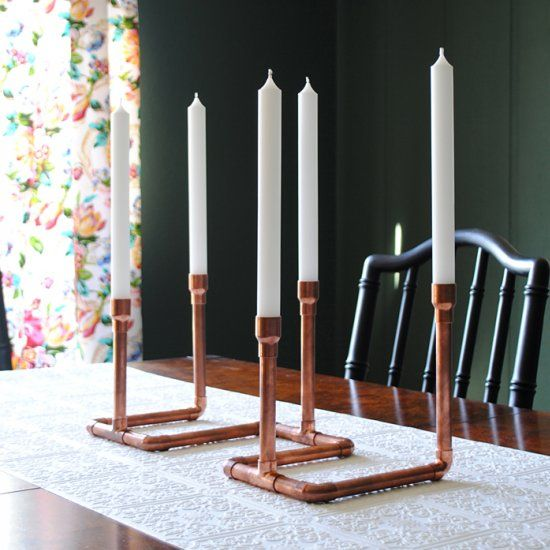 Make a candelabra out of copper plumbing supplies - perfect for fall table or mantel decorating!