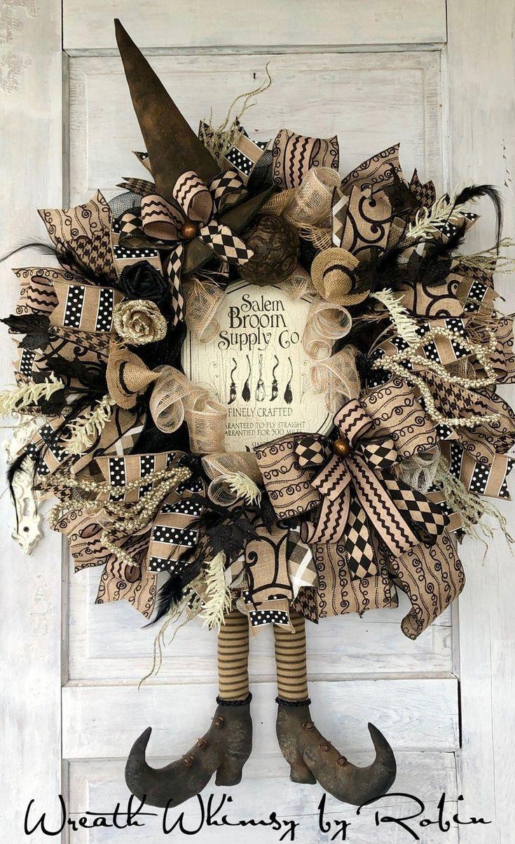 Halloween Witch Wreath, Fall Wreath, Halloween Decor, Witch Decor, Rustic Halloween Wreath, Folk Art, Primitive Witch, Black Tan Halloween