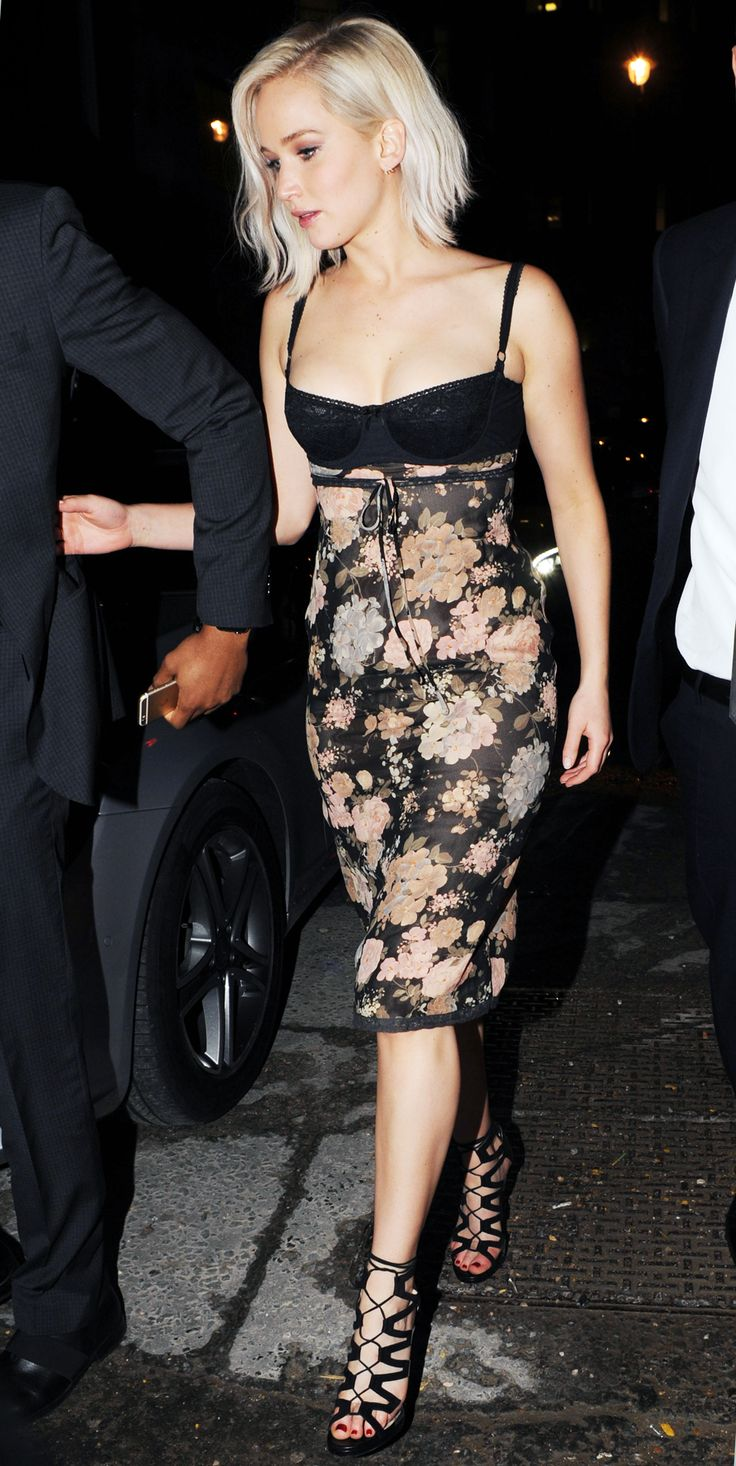 Jennifer Lawrence Demos How to Rock a Lingerie-Like Party Dress from InStyle.com