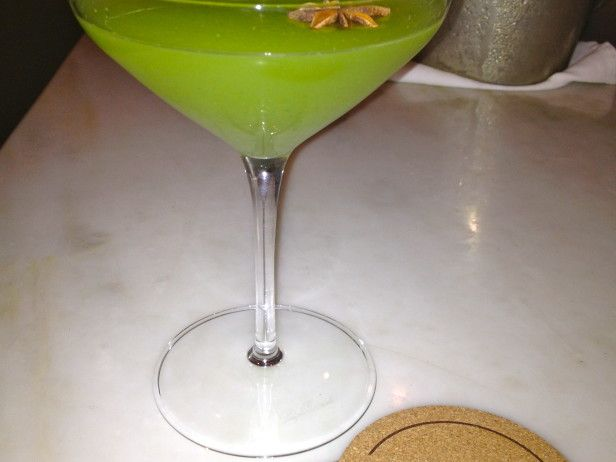 Juiced fennel gives  the Twizzler  its kick, but Chartreuse liqueur gives the cocktail its green color.