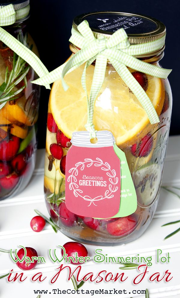 Mason Jar Gift DIY: Simmering Pot DIY & Candle DIY with FREE Printable - The Cottage Market