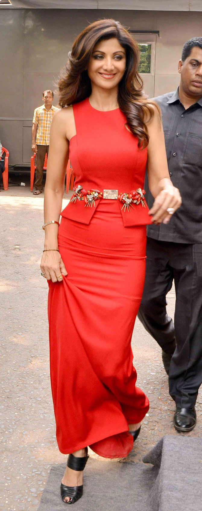 Shilpa Shetty in a red hot dress. #Bollywood #Fashion #Style #Beauty #Hot