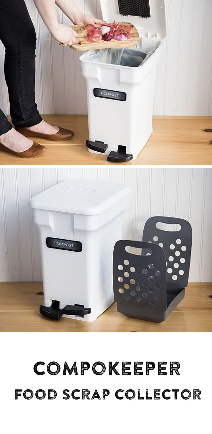 The CompoKeeper Food Scrap Collector is an innovative kitchen compost bin that keeps odors in and bugs out. Hands-free with interlocking bag clamps and removable tote to take out waste without dripping.
