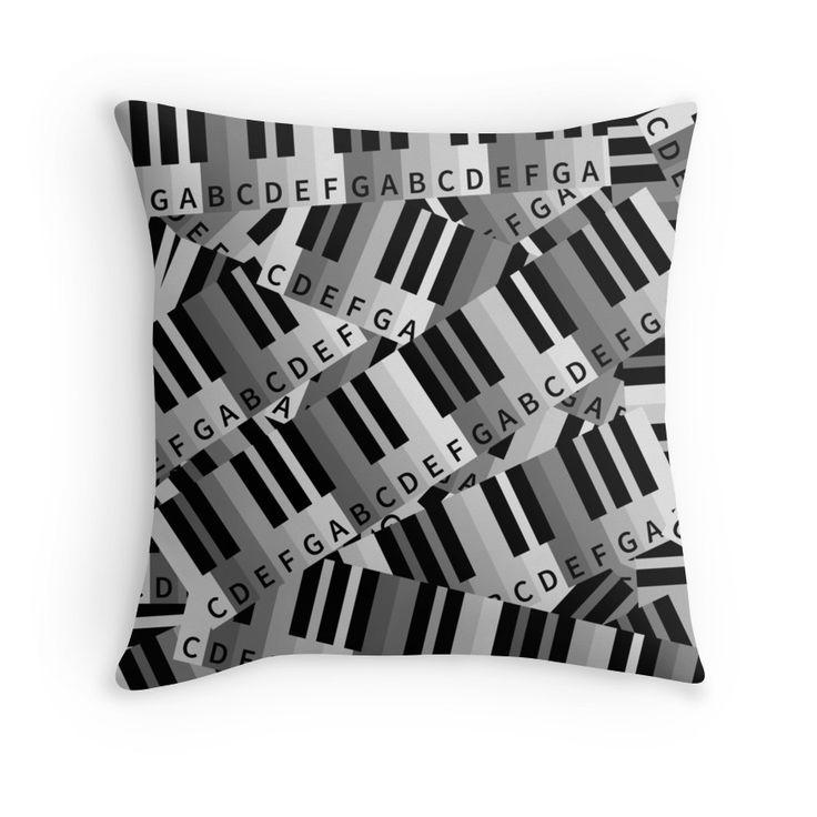 Piano Keys throw pillow by piedaydesigns