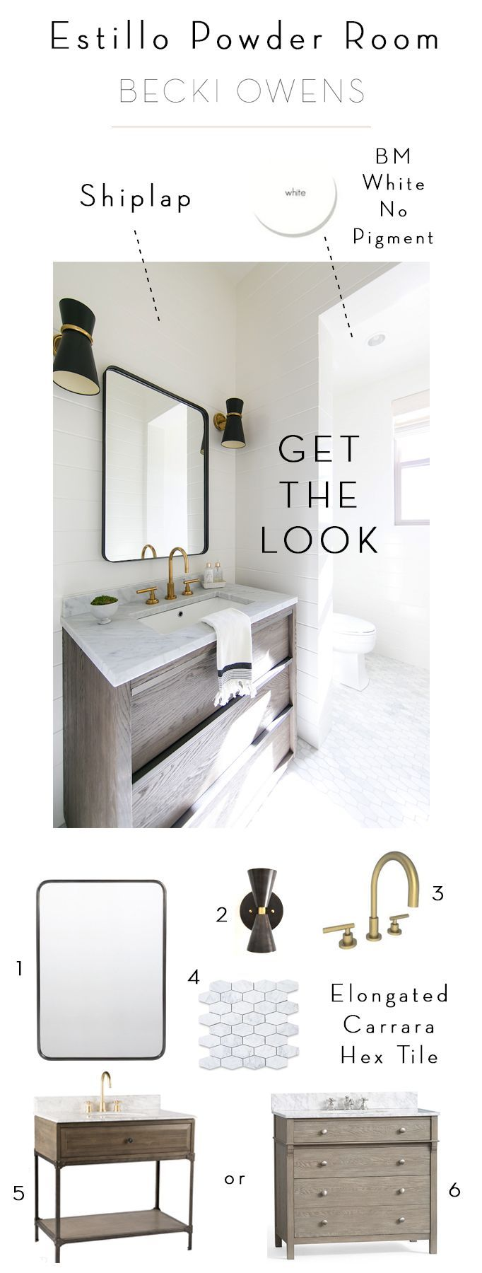 BECKI OWENS- Estillo Project: Modern Coastal Powder Room. This fresh coastal space has midcentury accents, shiplap walls painted Benjamin Moore no tint white, Carrara marble elongated hex tile, Newport Brass East Linear faucet, and black accents. See all details on the blog!