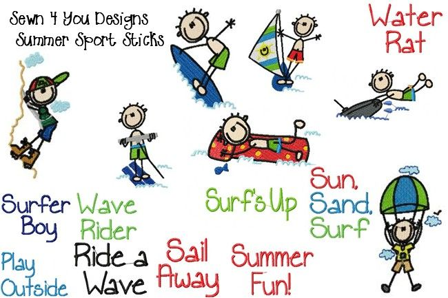 Sewn 4 You Designs Stick Figure Embroidery Designs