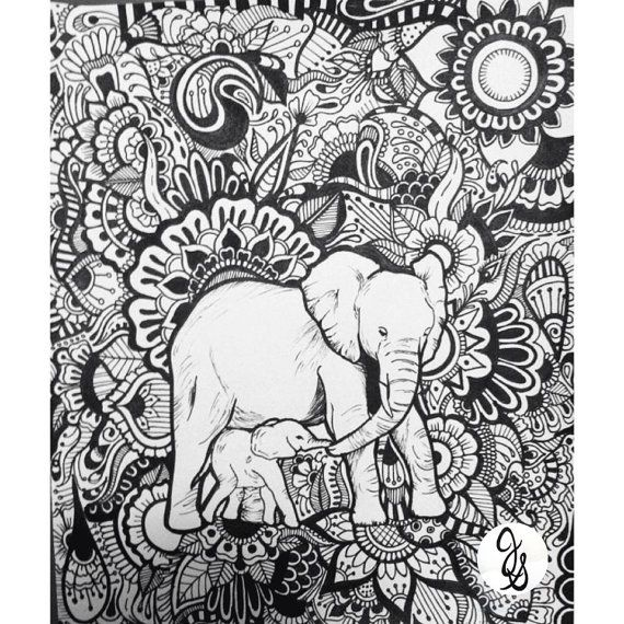 elephant floral design by byjamierose - Coloring Page Elephant Design