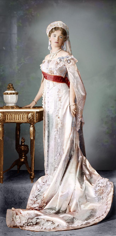 The Romanovs: Grand Duchess Olga Nikolaevna (1895 – 1918) of Russia in her court dress