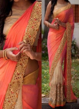 Orange Cream Half N Half lace Border Stone Work Net Georgette Party Wear Sarees http://www.angelnx.com/Sarees/Party-Wear-Sarees