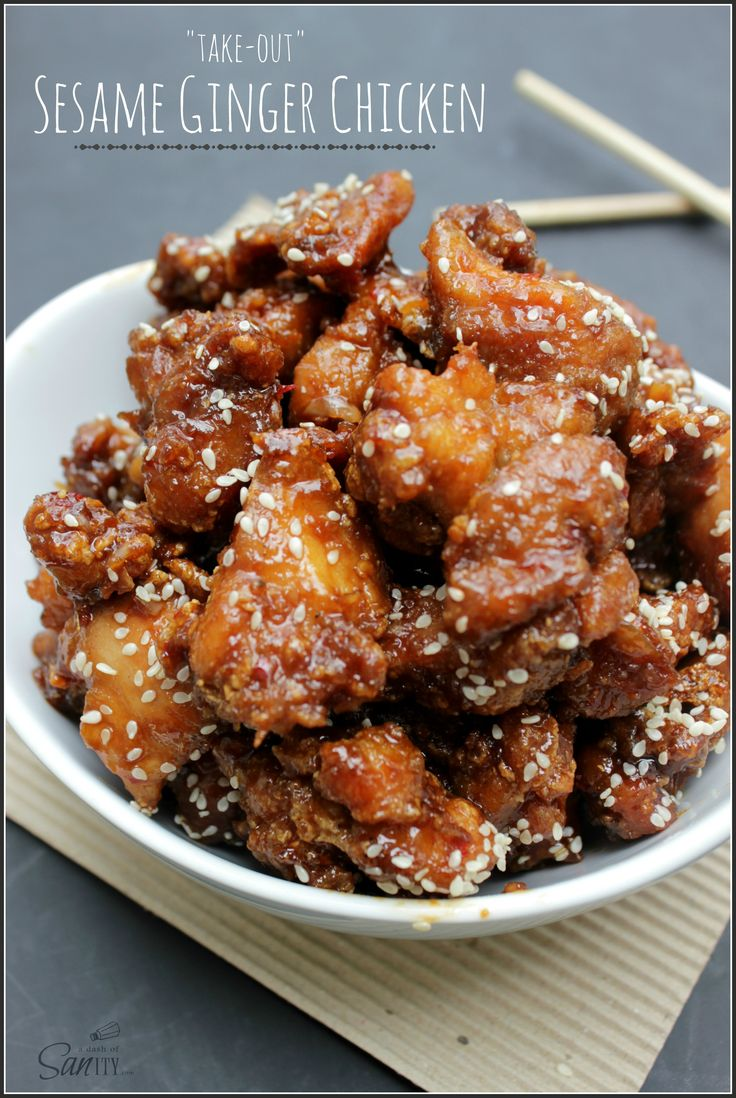 """Take-Out"" Sesame Ginger Chicken - A Dash of Sanity"