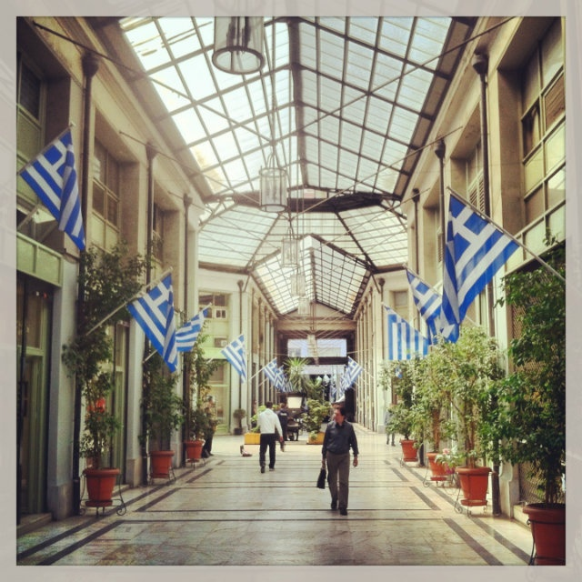 Pesmatzoglou Stoa that runs through the New Arsakeio building is one of the most beautiful commercial spots in Athens. (Walking Athens, Route 01 - University Str.)