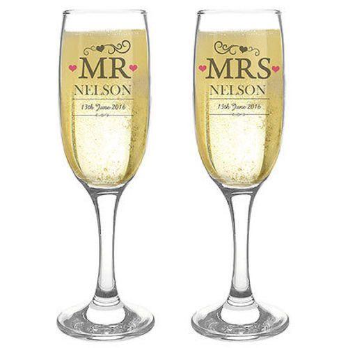 Juego de 2 Sr. Sra. boda flautas copas de Champagne