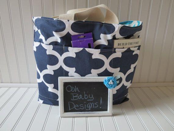 Reversible Quatrefoil Teacher Tote Bag  Navy by OohBabyInfinity