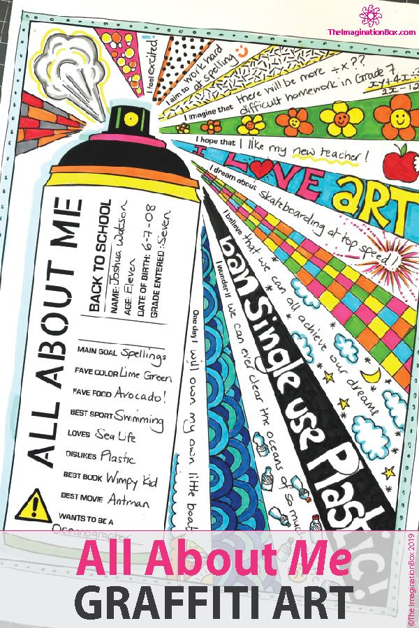 All About Me Graffiti Wall Name Activity Back To School Art