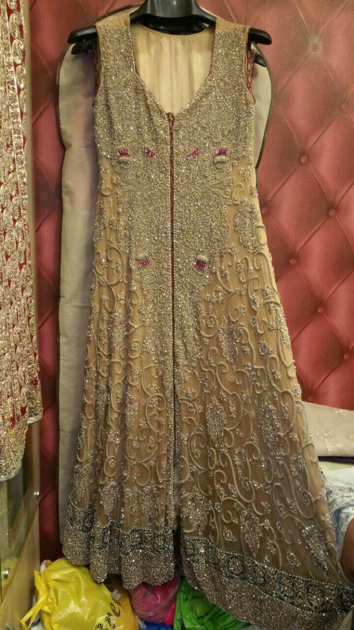 pure chiffon frock hand embroidered Russian grip trouser pure chiffon dupata with scroll and border 70000 pkr