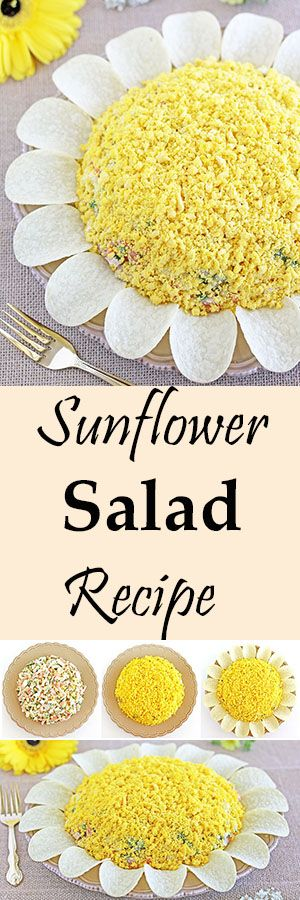 This savory salad is often the first to be gone from the table. It tastes amazing! A hint of garlic juice in the mayo dressing gives it a craveable taste. The recipe makes two large plates for your enjoyment and a beautiful summertime meal. #beautifulsaladrecipe #summersaladrecipe #sunflowersalad #vegetables