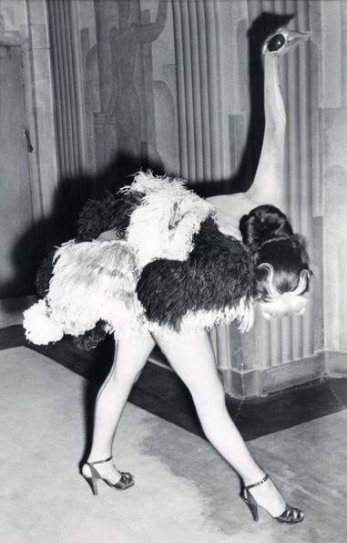 """1951 """"Ostrich"""" dancer in the Folies Bergere show at the London Hippodrome"""