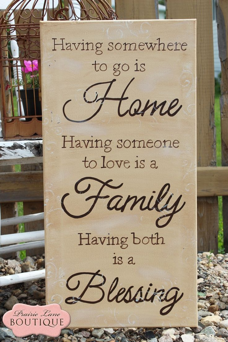 Bathroom wall decor quotes - Having Somewhere To Go Is Home Family Blessing Canvas Quote Wall Art