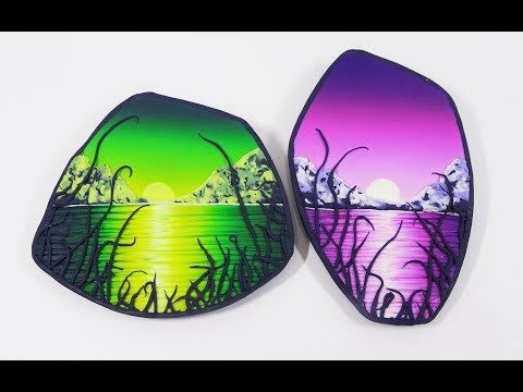 Painting with polymer clay, a landscape brooch - YouTube