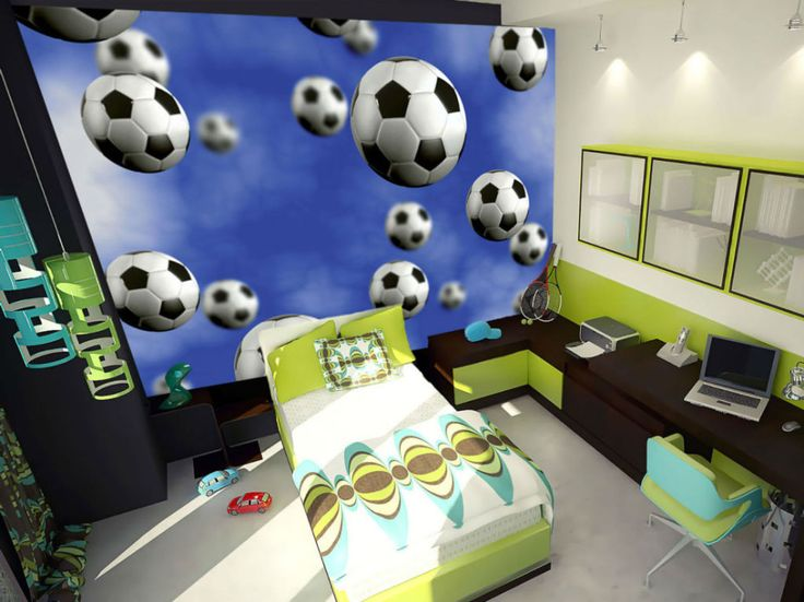 Kids Bedroom, Charming Football Mural Wall Decor Designed For Kids With  Single Bed Glass Window