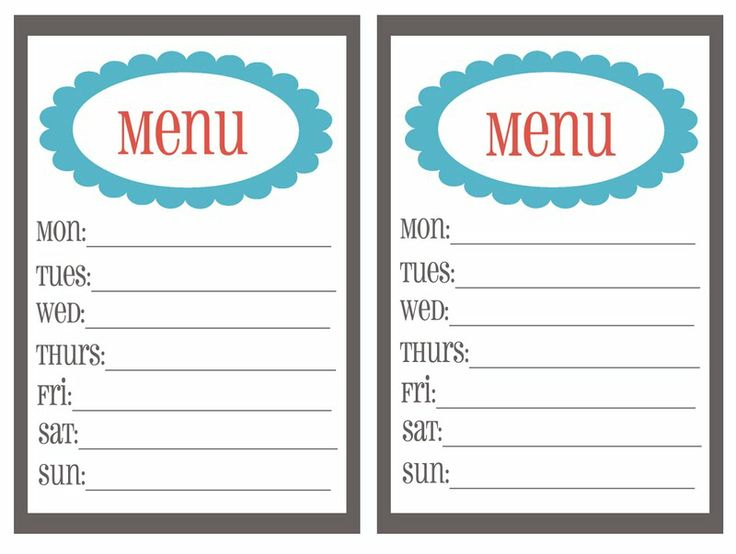 Best 25+ Weekly menu printable ideas on Pinterest Weekly meal - dinner menu templates free