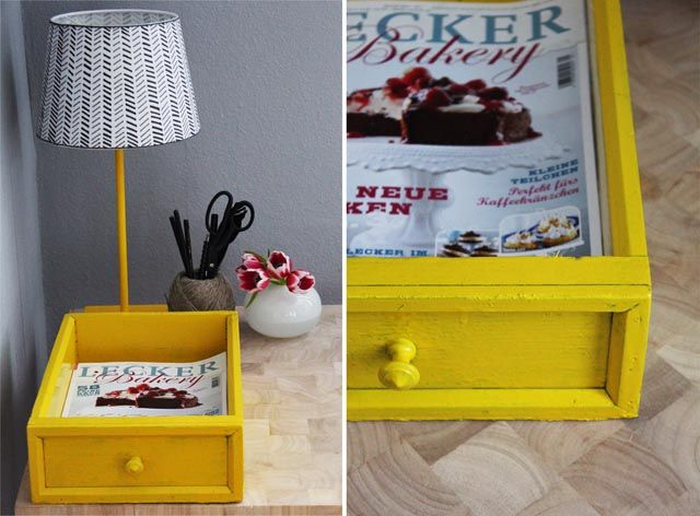 a wonderful yellow idea! --- little.empty.room: DIY . schublade goes schreibtischablage