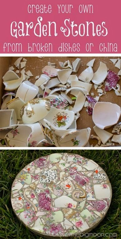 How to take broken dishes and create beautiful garden stones. [ MiniFarmBox.com ]