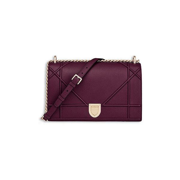"""""""DIORAMA"""" BAG IN AMARANTH-COLOURED GRAINED CALFSKIN ❤ liked on Polyvore featuring bags, handbags, calfskin bag, calf leather handbags, purple bags, calfskin purse and purple purse"""