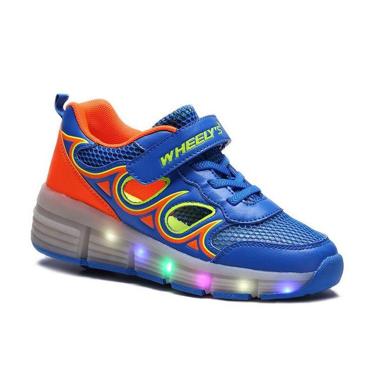 New Boys Girls Children LED Light Sneakers One Wheels Roller Skate Shoes For Kids Shoe Size 29-42 Little Kid Big Kid