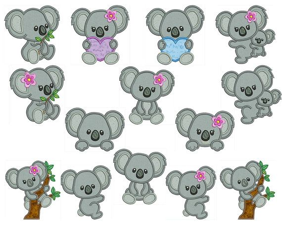 KOALA 1 Machine Applique Embroidery Instant by embroiderquilt