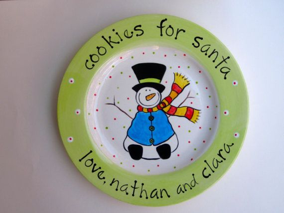 personalized hand painted cookies for santa snowman christmas plate on Etsy, $48.00