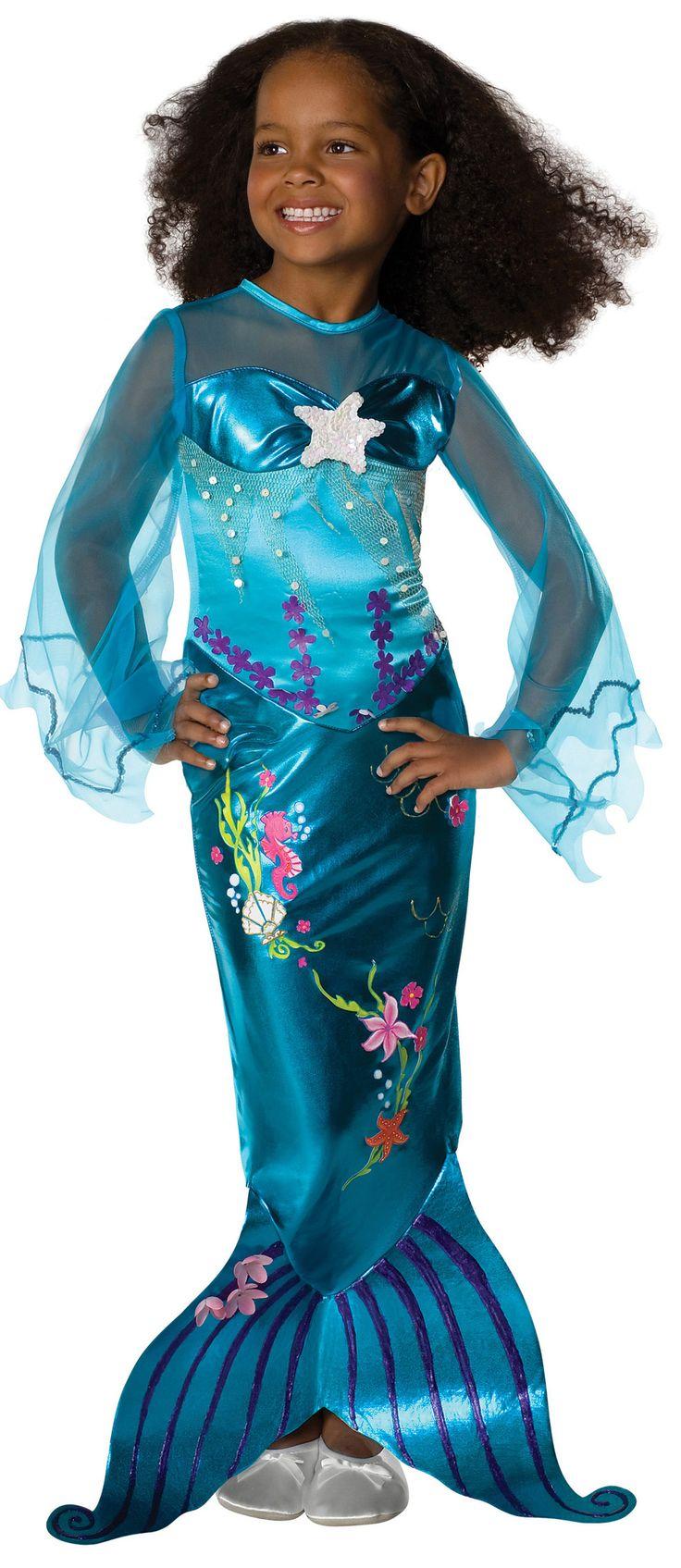 Precioso disfraz de sirena para niñas. Disponible en www.vegaoo.es