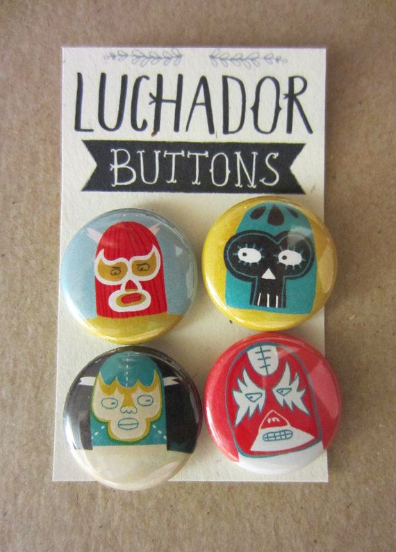 Luchadore Button or Magnet Pack choice 1 by PetitReve on Etsy, $6.00