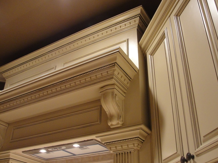 Arlington white cabinets with corbels and dressed up - Lily ann cabinets ...
