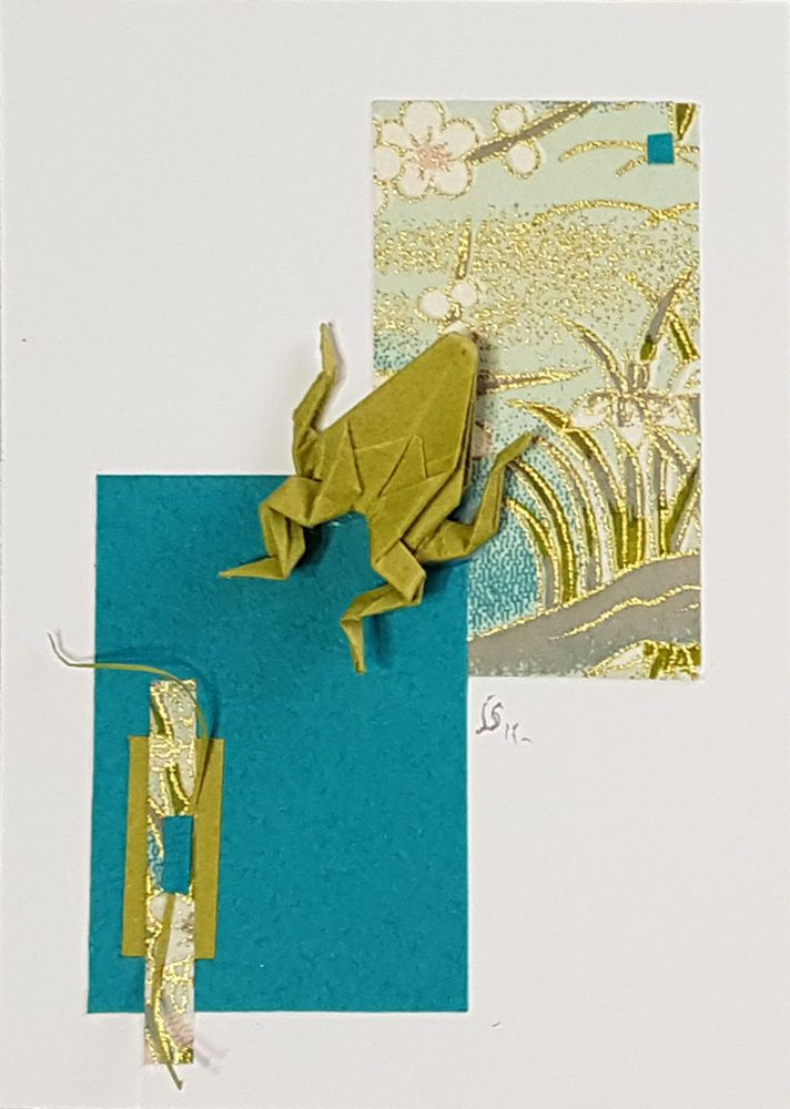 ACEO Origami Frog-Kaeru-Paper Collage-Small Wall Art-ORIGINAL Not a PRINT-JUL  #Miniature