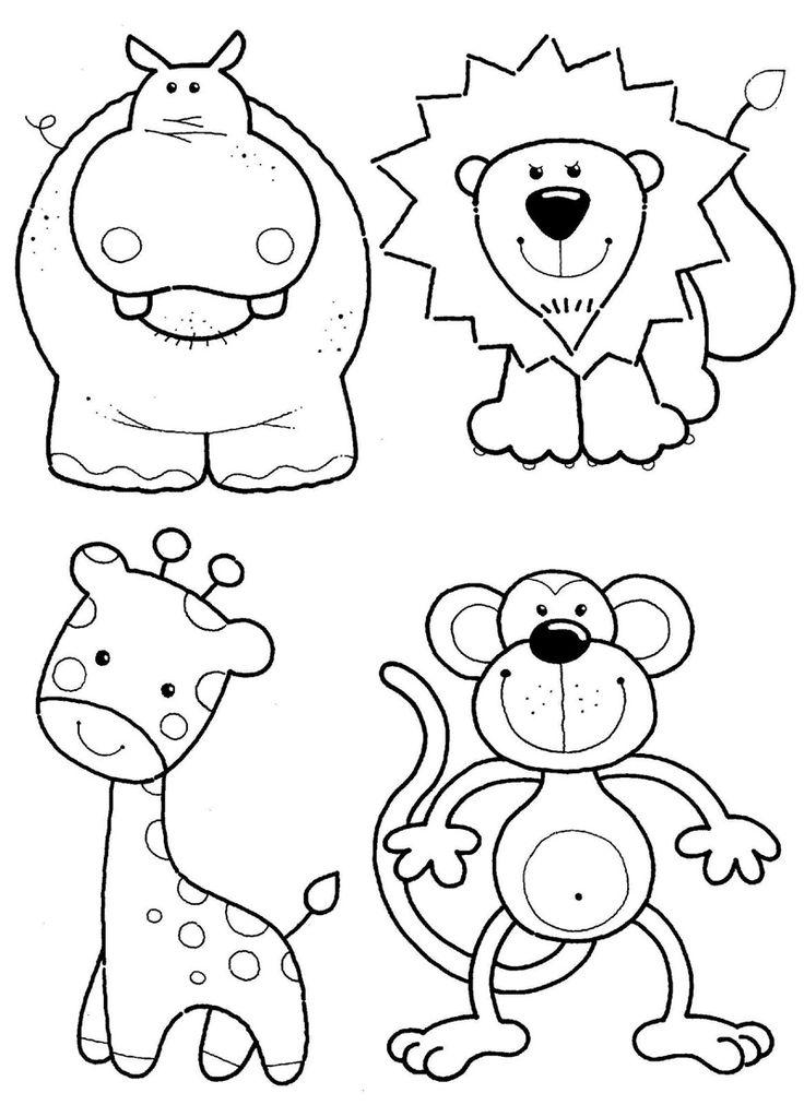 Бегемот, лев, жираф и обезьяна - razukrashki.com