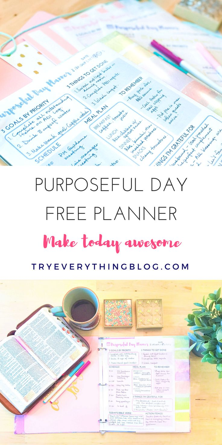 Free Printable Purposeful Day Planner {newsletter subscription required} TryEverythingBlog.com