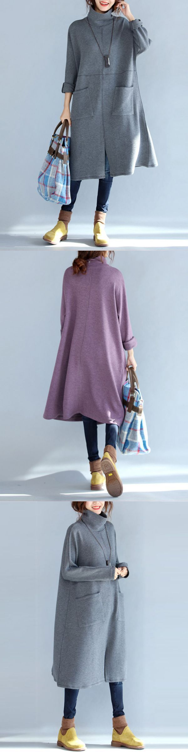 Casual women long sleeve solid color turtleneck dress with pockets casual dresses long #casual #dress #for #60 #year #old #woman #casual #dresses #high #street #pictures #of #casual #dresses #for #ladies #zalando #casual #dresses