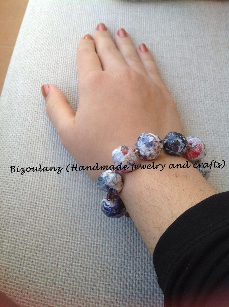 Papier mache bracelet, crackly stone look