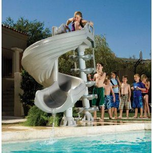 Popular Swimming Pool Slides For Sale  http://www.intheswim.com/Pool-Accessories/Pool-Slides-for-In-Ground-Pools/G-Force-Super-Pool-Slide/