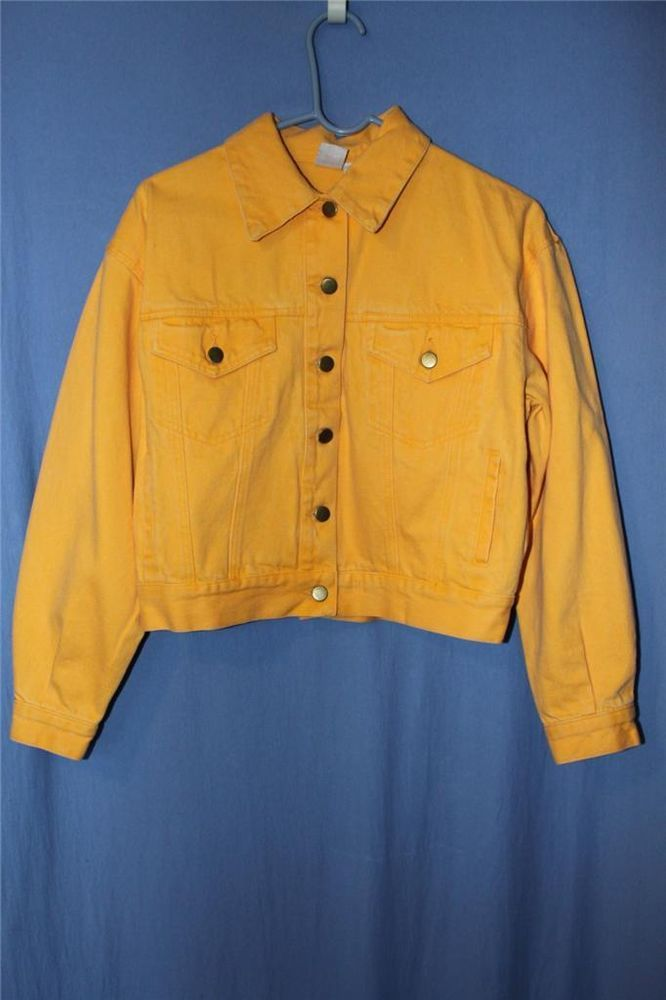 80's Vintage Clifford Wills Yellow Denim Jean Jacket Ladies S 8 10 Cropped NICE! #CliffordWills #JeanJacket
