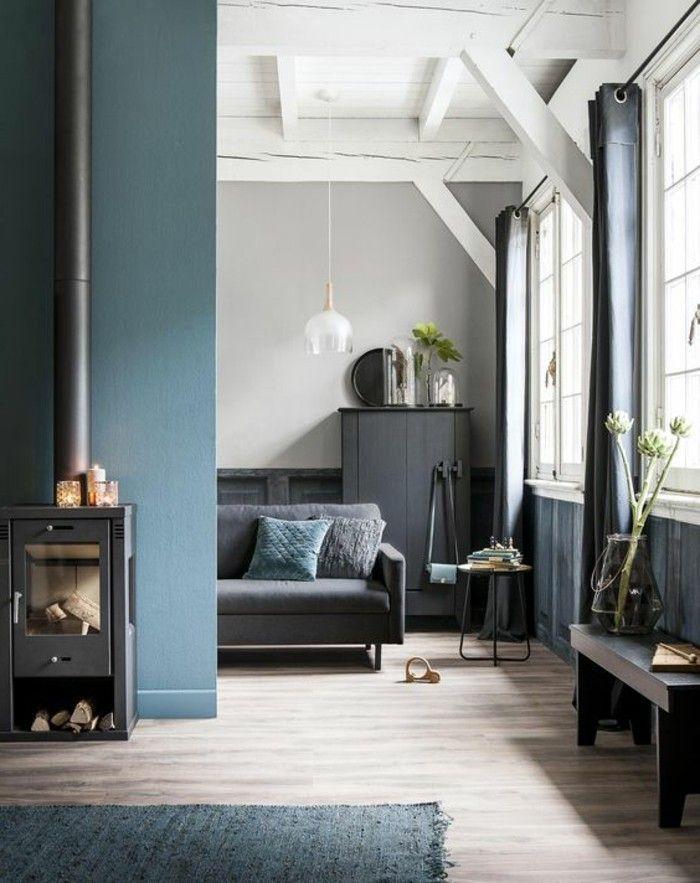 Avec quelle couleur associer le gris?! Plus de 40 exemples! | Salon bleu, Salon bleu canard et ...