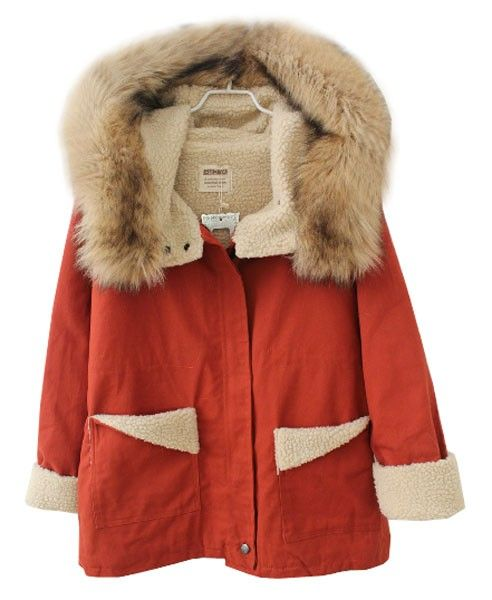 Red Hooded Parka with Fur Trim and Fleece Lining