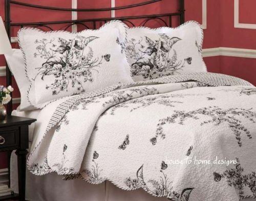 Bettwäsche Floral Black-white-toile-full-queen-quilt-set-french-country