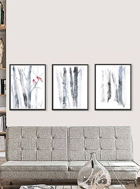 Set Of 3 Wall Art Set Of 3 Prints Three Piece Wall Art Birch Prints Matching Art Grey Wall Decor Tree