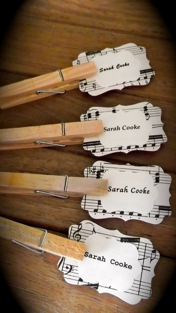 Beautiful Hand Crafted Music Themed Wedding Escort Cards, Place Cards, Vintage or Shabby Chic x 15 via Etsy
