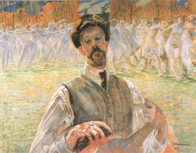 Jacek Malczewski - Self-portrait (1917) with a dance procession