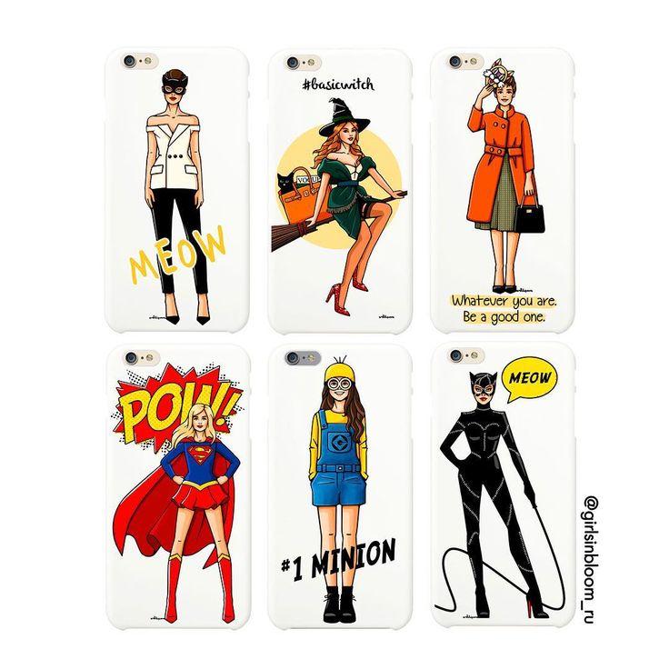 На фото подборка чехлов #GirlsinBloom , посвященная Хэллоуину!  Больше иллюстраций с девушками в масках и костюмах на www.girlsinbloom.ru ✏️ #иллюстрация #хэллоуин #чтонадеть #чехолнаайфон #октябрь