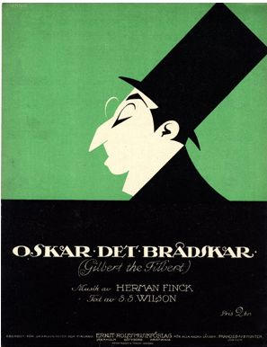 Illustrated Sheet Music Cover by Einar Nerman (1888-1983), 1914, Oskar det brådskar. (Swedish illustrator)